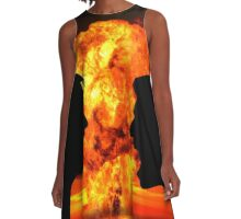 Man and Woman Silhouetted in Nuclear Blow-Up Argument A-Line Dress