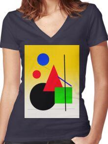 sun rise cityscape Women's Fitted V-Neck T-Shirt