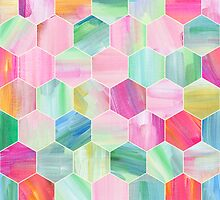 Pretty Pastel Hexagon Pattern in Oil Paint by micklyn