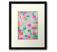 Pretty Pastel Hexagon Pattern in Oil Paint Framed Print