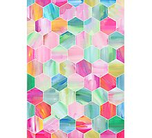Pretty Pastel Hexagon Pattern in Oil Paint Photographic Print