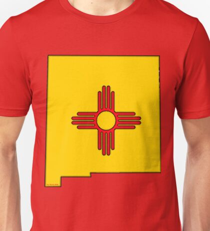 New Mexico Map with New Mexico State Flag Unisex T-Shirt