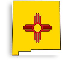 New Mexico Map with New Mexico State Flag Canvas Print