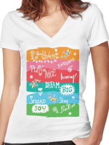 Woo Hoo Words Women's Fitted V-Neck T-Shirt