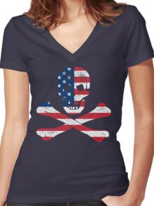Skull and Bones American Flag Edition Women's Fitted V-Neck T-Shirt