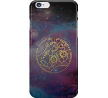 'Gallifrey Falls No More.' in Gallifreyan - Gold (nebula background) iPhone Case/Skin