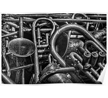 Old Brass Musical Instruments BW Poster
