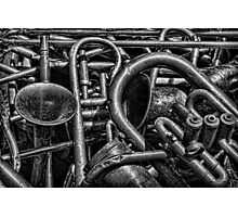 Old Brass Musical Instruments BW Photographic Print