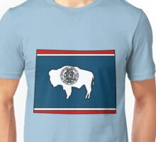 Wyoming Map With Wyoming State Flag Unisex T-Shirt
