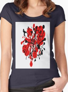 red and black abstract Women's Fitted Scoop T-Shirt