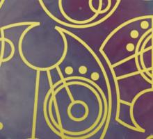 'Gallifrey Falls No More.' in Gallifreyan - Gold (nebula background) Sticker
