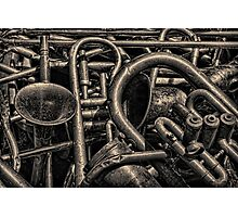 Old Brass Musical Instruments Toned Photographic Print