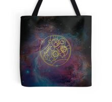 'Gallifrey Falls No More.' in Gallifreyan - Gold (nebula background) Tote Bag