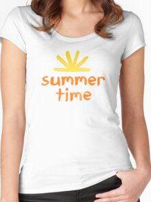 Summer Time Watercolor Women's Fitted Scoop T-Shirt