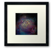 'Gallifrey Falls No More.' in Gallifreyan - Gold (nebula background) Framed Print