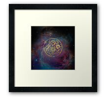 'Gallifrey Falls No More.' in Gallifreyan - Gold (nebula background) Framed Print