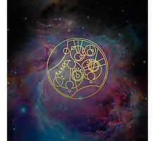'Gallifrey Falls No More.' in Gallifreyan - Gold (nebula background) Photographic Print