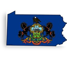 Pennsylvania Map With Pennsylvania State Flag Canvas Print
