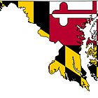 Maryland Map With Maryland State Flag by Havocgirl