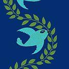 Bluebird with Green Garland  by SusanSanford