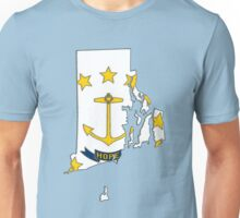 Rhode Island Map With Rhode Island State Flag Unisex T-Shirt