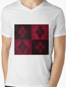 Patchwork Red & Black Leather Effect Motley with Diamond Patches 3 Mens V-Neck T-Shirt