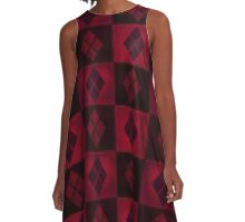 Patchwork Red & Black Leather Effect Motley with Diamond Patches 3 A-Line Dress