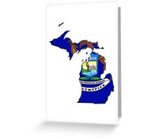 Michigan Map With Michigan State Flag Greeting Card