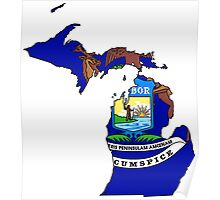 Michigan Map With Michigan State Flag Poster