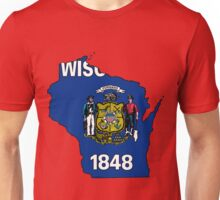 Wisconsin Map with Wisconsin State Flag Unisex T-Shirt