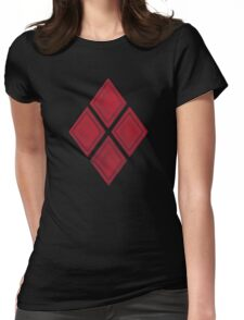 Red Diamond Patches with Inside stitching Womens Fitted T-Shirt