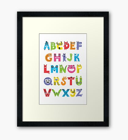 Alphabet Monsters poster Framed Print