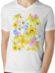 Yellow Daisy Mens V-Neck T-Shirt