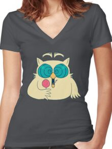 Mr. Owl Women's Fitted V-Neck T-Shirt