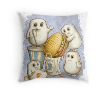 Supersize Me (blue) Throw Pillow