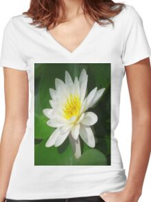 Water Lilly   Women's Fitted V-Neck T-Shirt