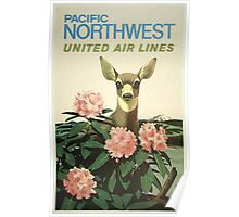 Pacific Northwest Air Lines Vintage Travel Poster Poster