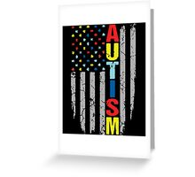 Autism Awareness T-Shirt - American Flag Puzzle Piece Greeting Card