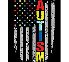 Autism Awareness T-Shirt - American Flag Puzzle Piece Photographic Print