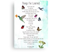 Things I've Learned Canvas Print