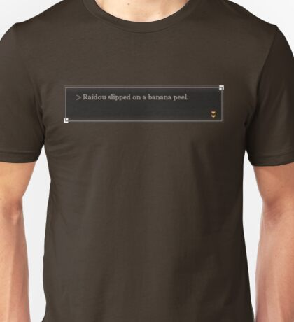 Raidou Slipped on a Banana Peel (textbox) Unisex T-Shirt