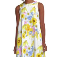 Yellow Daisy A-Line Dress