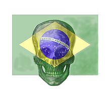 Brazil Flag Skull  by david michael  schmidt