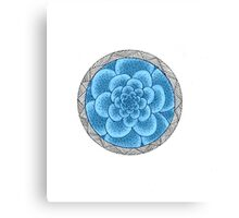 flower with striped round blue Canvas Print