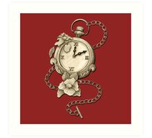 Pocket Watch And Flowers / Time Is An Enemy Of Time Art Print
