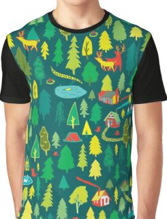 Green Forest Pattern Graphic T-Shirt