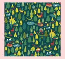 Green Forest Pattern Kids Tee