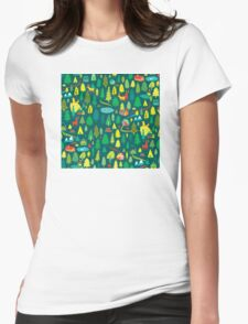 Green Forest Pattern Womens Fitted T-Shirt