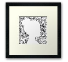 Flower Girl Silhouette Sketch Framed Print