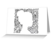Flower Girl Silhouette Sketch Greeting Card